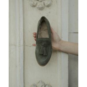 Лоферы хаки с мехом photo - 2