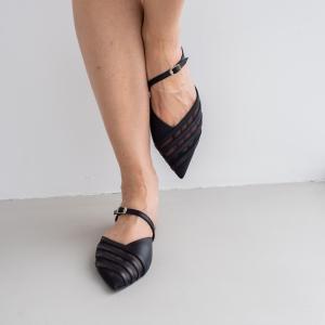 Мюли Lea Flats черные кожаные фото-2