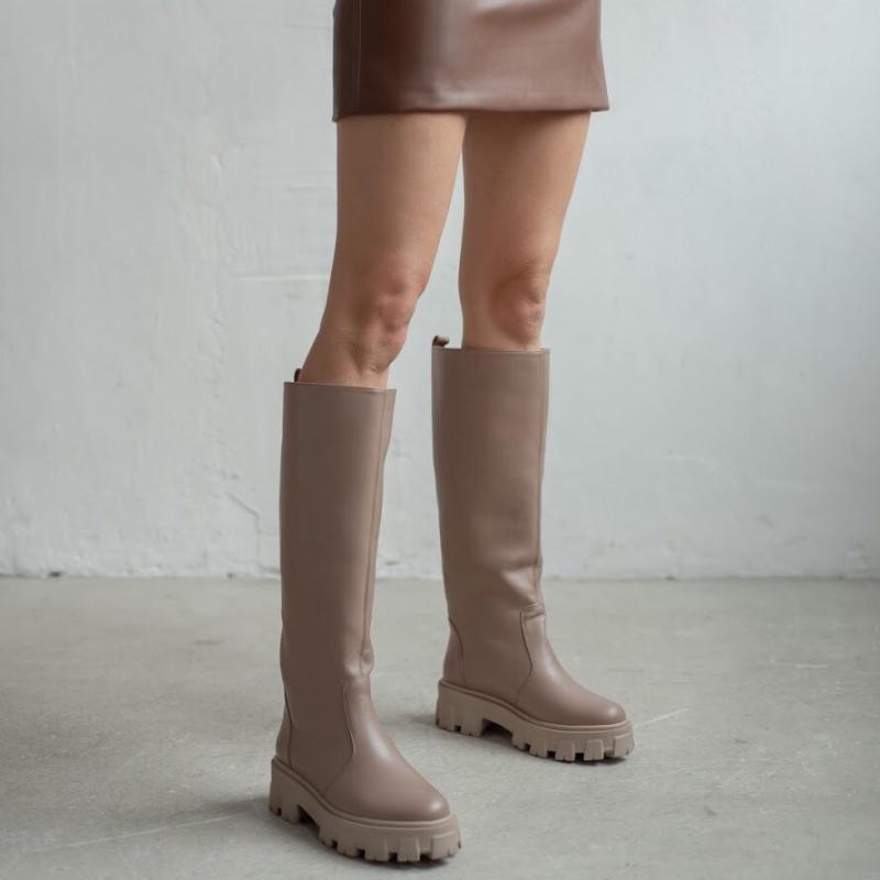 Сапоги Gosh бежевые кожаные photo - 1