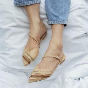 Мюли Lea Flats бежевые кожаные photo - 2